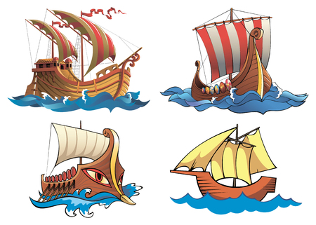 origin: Four ships of different origin and ages Illustration