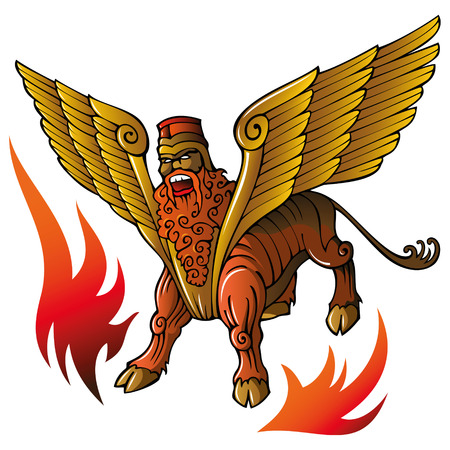 Assyrian mythical deity Shedu, winged bull with human head, banishing evil spirits, illustration