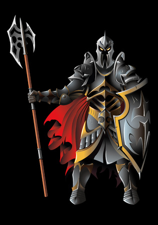the sentinel: Dark guardian, with full armor, holding halberd, illustration