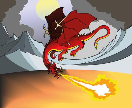 dismal: Flying Dragon breathing out fire, dismal landscape, illustration