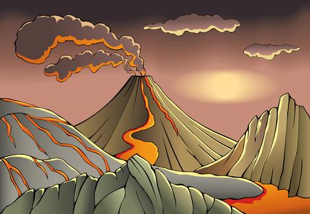 Volcano erupts under the dark sky, vector illustration Ilustração