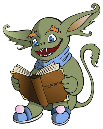 Genial gremlin reading magic book, vector illustration