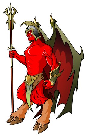Demonic guardian holding hellish spear, vector illustration