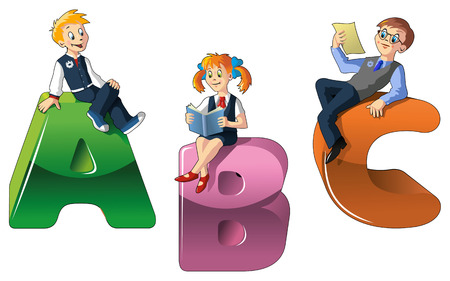 Back to school, three pupils sitting on big letters ABC, vector illustration