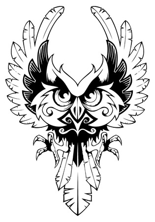 Owl spreading its wings, tattoo, vector illustration