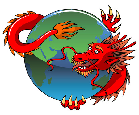 Chinese dragon entwining Earth, vector illustration.