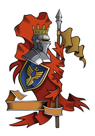 Heraldic composition with flags, helmet and shield, vector illustration Ilustracja