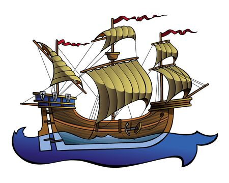 European medieval ship, running on the waves, vector illustration