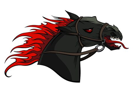 Hellish horse with fire mane, monstrous creature, vector illustration