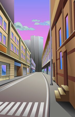 Narrow street in the big city on the background of skyscrapers, vector illustration