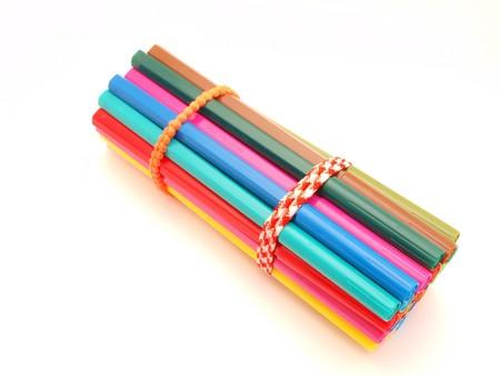 hued: Color felt-tip pens on a white background