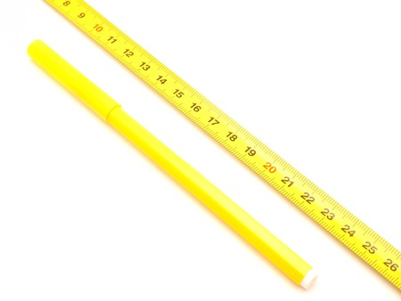 fine tip: Ruler and felt-tip pens on a white background   Stock Photo