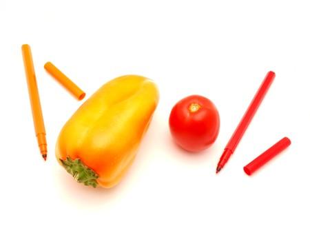 hued: Vegetables and felt-tip pens on a white background