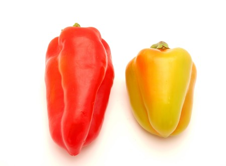 r sliced: Pepper on a white background