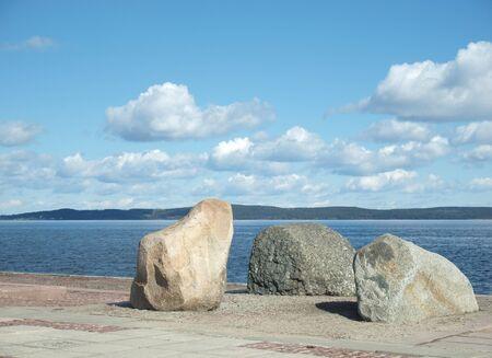 onega: Stones on coast of the Onega lake Stock Photo