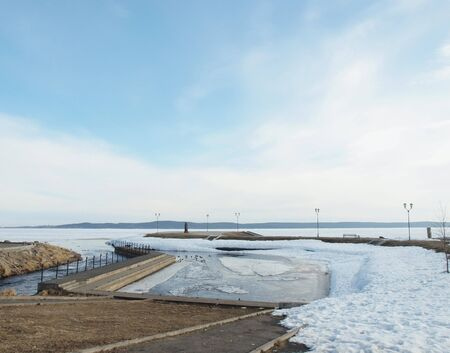 onega: Quay of the Onega lake in the spring, Russia
