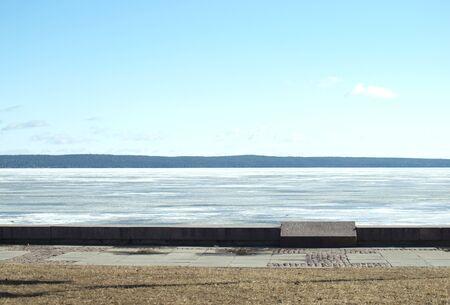 onega: The dropped out granite stone on quay of Onega. Petrozavodsk, Karelia, Russia