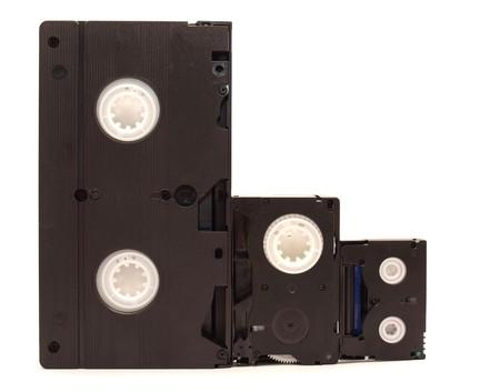 videocassette: Videocasetes sobre un fondo blanco
