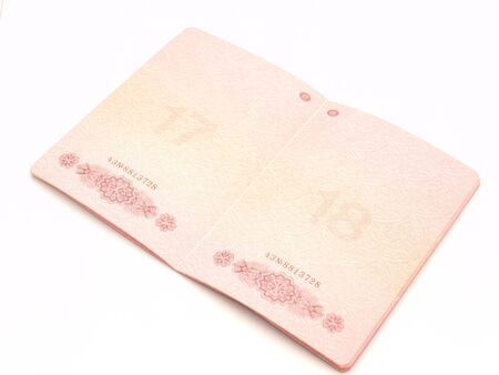 The opened passport on a white background          Stock Photo