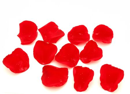 Rose-petals on a white background