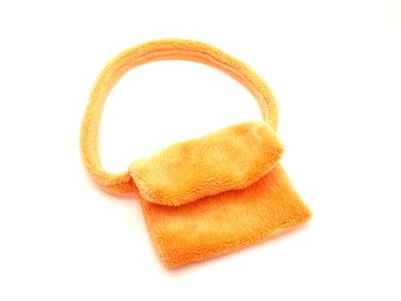 Orange handbag on a white background        photo