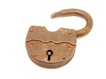 The old lock on a white background  photo