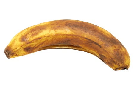 The spoiled banana on a white background photo