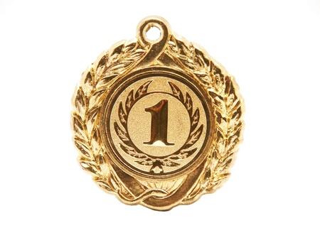 medallion: Golden medal. First palce. Stock Photo