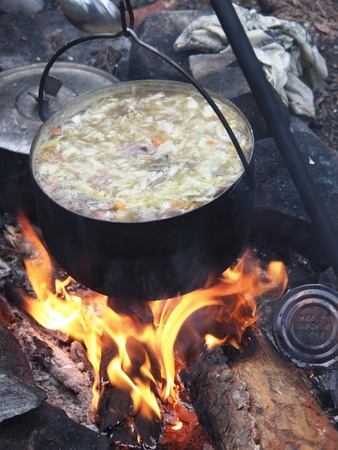 Traditional campfire cooking  Stock Photo