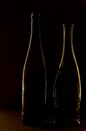 bottle on a black background photo