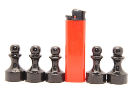 Lighter red and black chess on white background photo