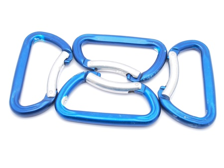 carabiner: climbing carabiner on a white background