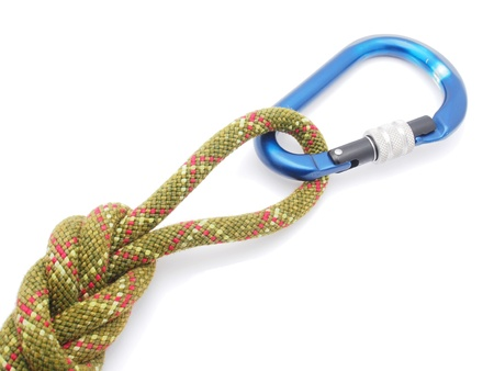 climbing rope and a carabiner on a white background