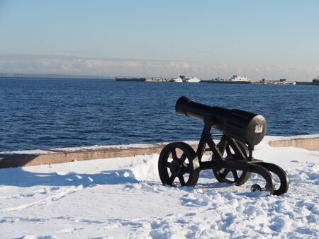 chernigow: Gun on quay of Onega in Petrozavodsk, Russia  Stock Photo