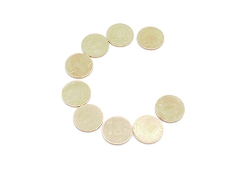 Letters of coins on a white background Stock Photo - 17568345