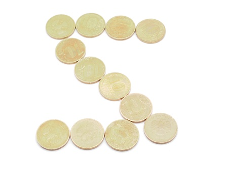 Letters of coins on a white background photo