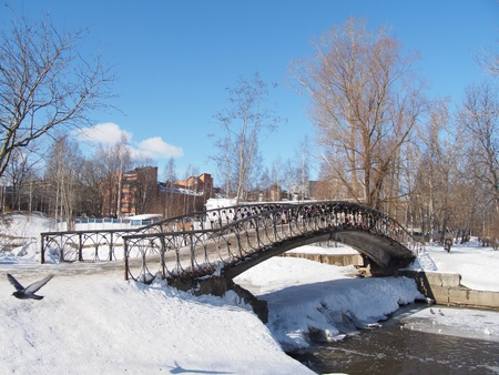 The bridge through the river in the winter  photo
