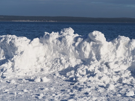 Snowdrift on the lake