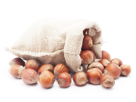Hazelnuts in a bag on a white background photo