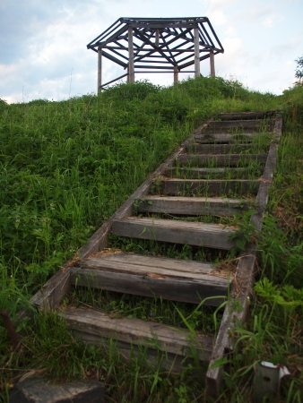 Old wooden ladder photo