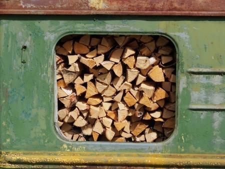 pile engine: railway wagon with wood