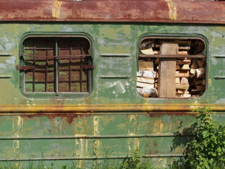 flatcar: railway wagon with wood