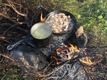 Frying pan and a pot on the fire Stock Photo - 21340940