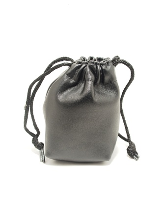 Black pouch isolated on white background Stock Photo