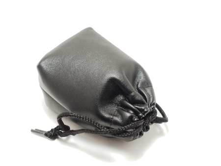 Black pouch isolated on white background photo
