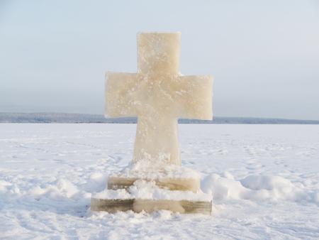 Cross ice on the lake photo