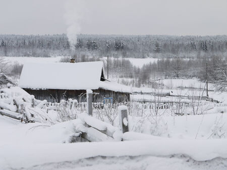 Winter in Russian village