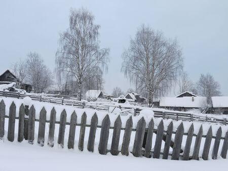 Winter in Russian village photo