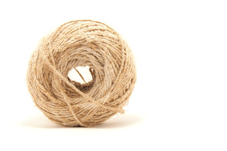 weave ball: ball of twine on a white  Stock Photo