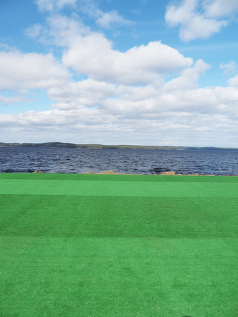 riverside landscaping: artificial turf on the lake